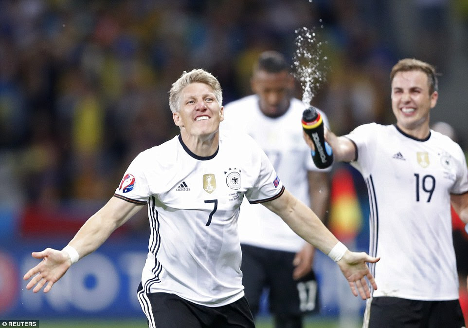 Schweinsteiger (No 7) - who came on for Mario Gotze (right) in the 90th-minute - scored in added time for the World Cup-winning side