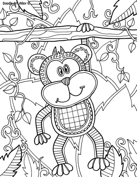 safari animal coloring pages doodle art alley