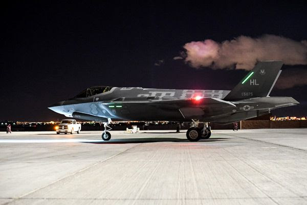 An F-35A Lightning II takes part in the Red Flag 17-1 exercise at Nellis Air Force Base in Nevada...on February 3, 2017.