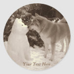 cute akita kissing snowman akita photo christmas classic round sticker