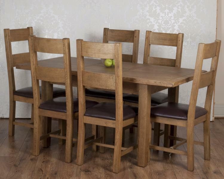 Solid Chunky Rustic Oak Dorset Extending Dining Table 6 Chairs RRP \u00a31399!!  eBay