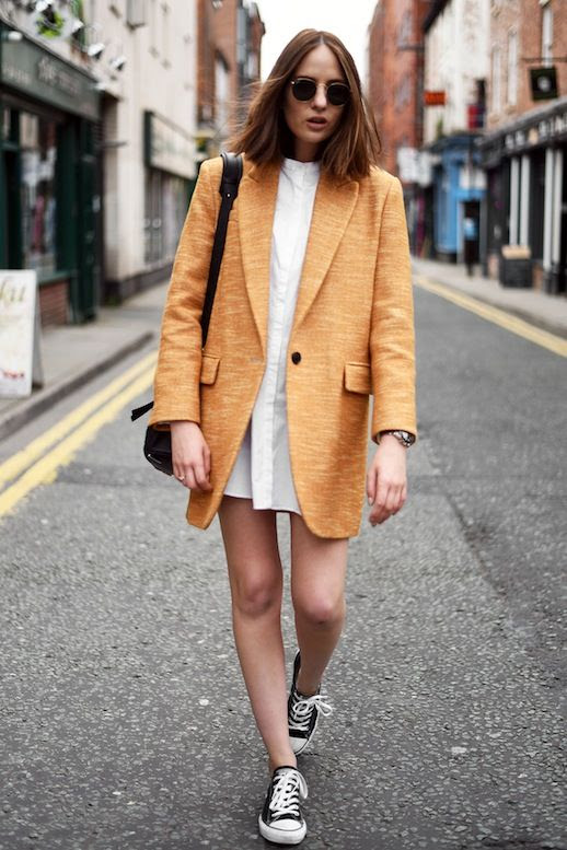 Le Fashion Blog Sunglasses Orange Blazer White Shirtdress Black Crossbody Bag Converse Sneakers Via A Shot From The Street