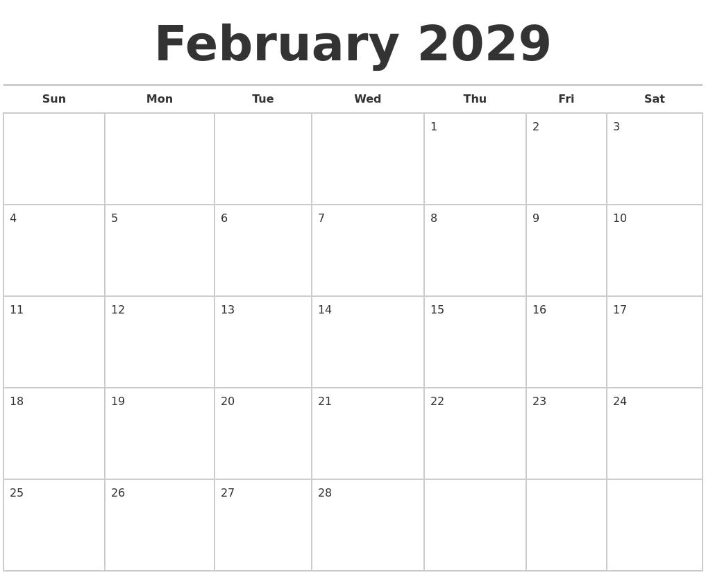 february 2029 calendars free