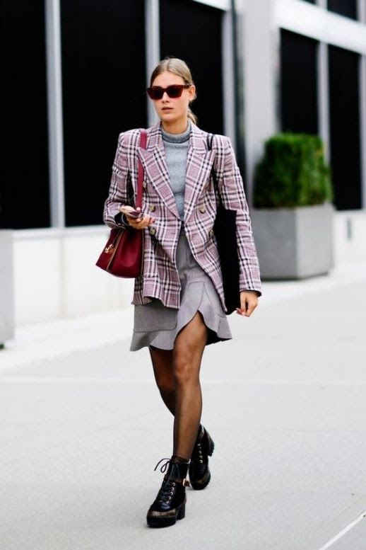 Le  Fashion  Blog  NYFW  Streetstyle  Red  Sunglasses  Gray  Turtleneck  Plaid  Blazer  Gray  Skirt  Black  Combat  Boots  Via  Harpers  Bazaar