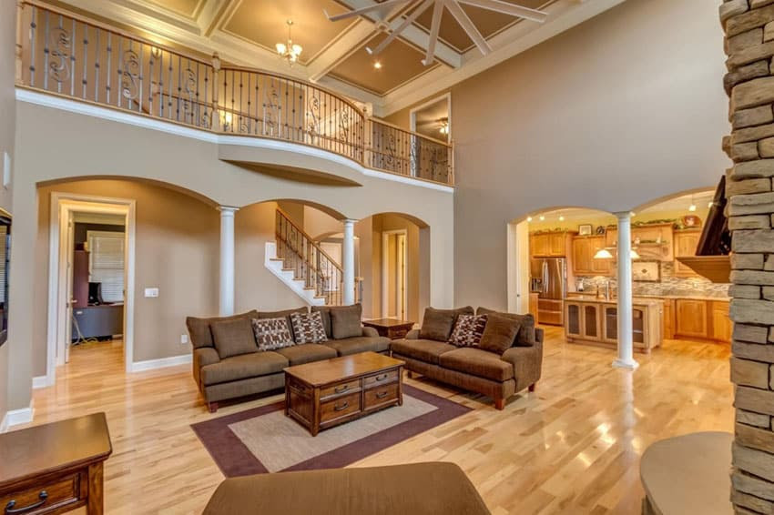 traditional living room with hickory wood floors
