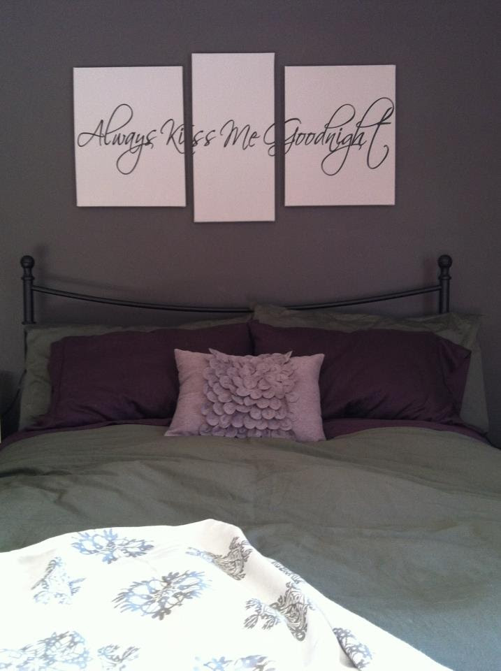 Art project time! Vinyl wall art + canvas = gorgeous!  I love my bedroom! :)