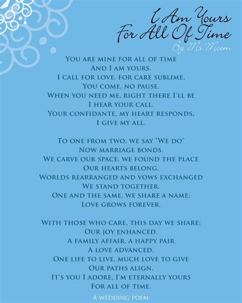 I Am Yours For All Of Time   quotes   Wedding poems, Love