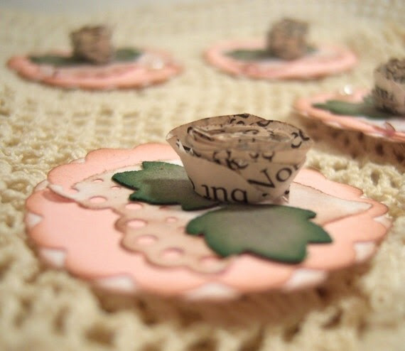 Shabby Paper Roses Embellishments Embellies Inches Tags Vintage book pages and Pearls