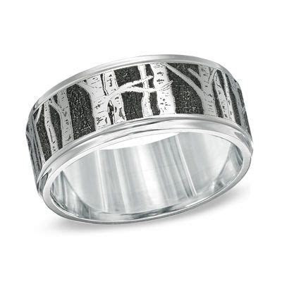 Men's 9.0mm Comfort Fit Aspen Tree Cobalt Wedding Band