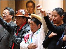 De der. a izq.: Walter Delgadillo, ministro de Obras Públicas; Milton Gómez, ministro de Minas; Nilda Copa, ministra de Justicia, y Carmen Trujillo, ministra de Trabajo