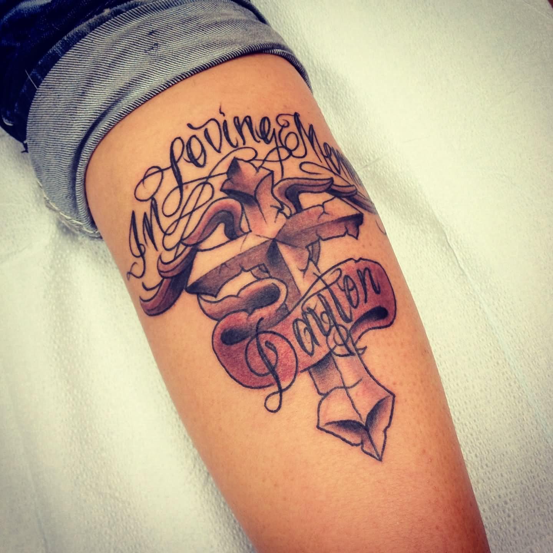 In Loving Memory Cross Tattoo