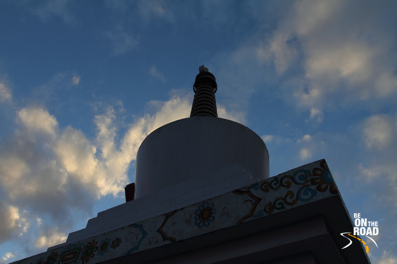 War memorial stupa against the blue Himalayan sky