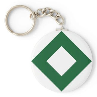 White and Green Diamond Pattern Key Chain