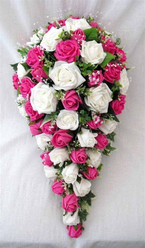 16 best Artificial Wedding Flowers Ivory and Hot Pink