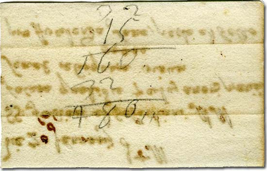 Mallorca, backside of the card with ascetic practices foreseen for the day of San Sebastián: mathematical addition