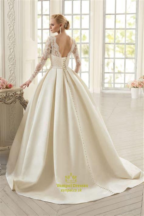 Long Sleeve Illusion Bodice A Line Satin Wedding Dress