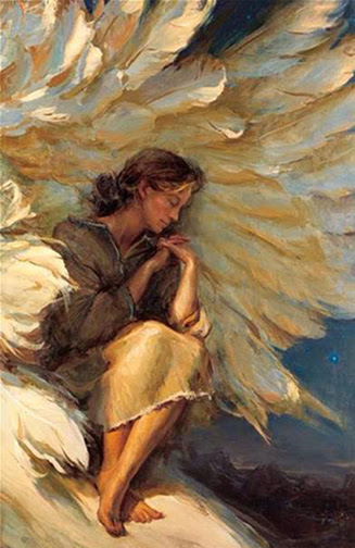[Drawing of a man resting under an angel's wings]