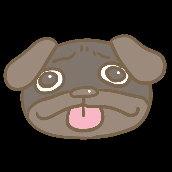 黒パグの顔のイラスト かわいいフリー素材が無料のイラストレイン