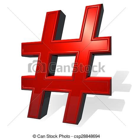 hashtag sign  red metal material  render isolated