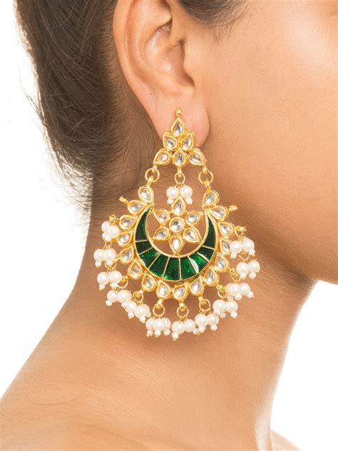 buy enamel green kundan earrings  ruby raang  ritu