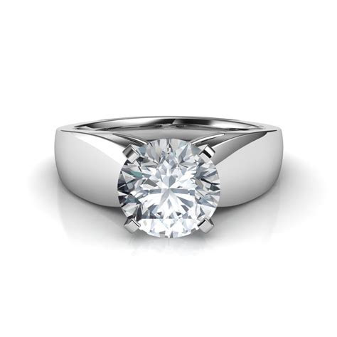 Wide Band Cathedral Solitaire Engagement Ring Natalie Diamonds