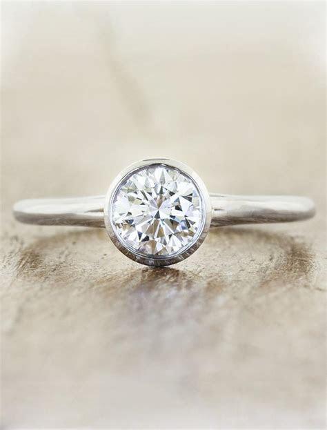Myra: Unique Bezel Set Round Diamond Engagement Ring   Ken