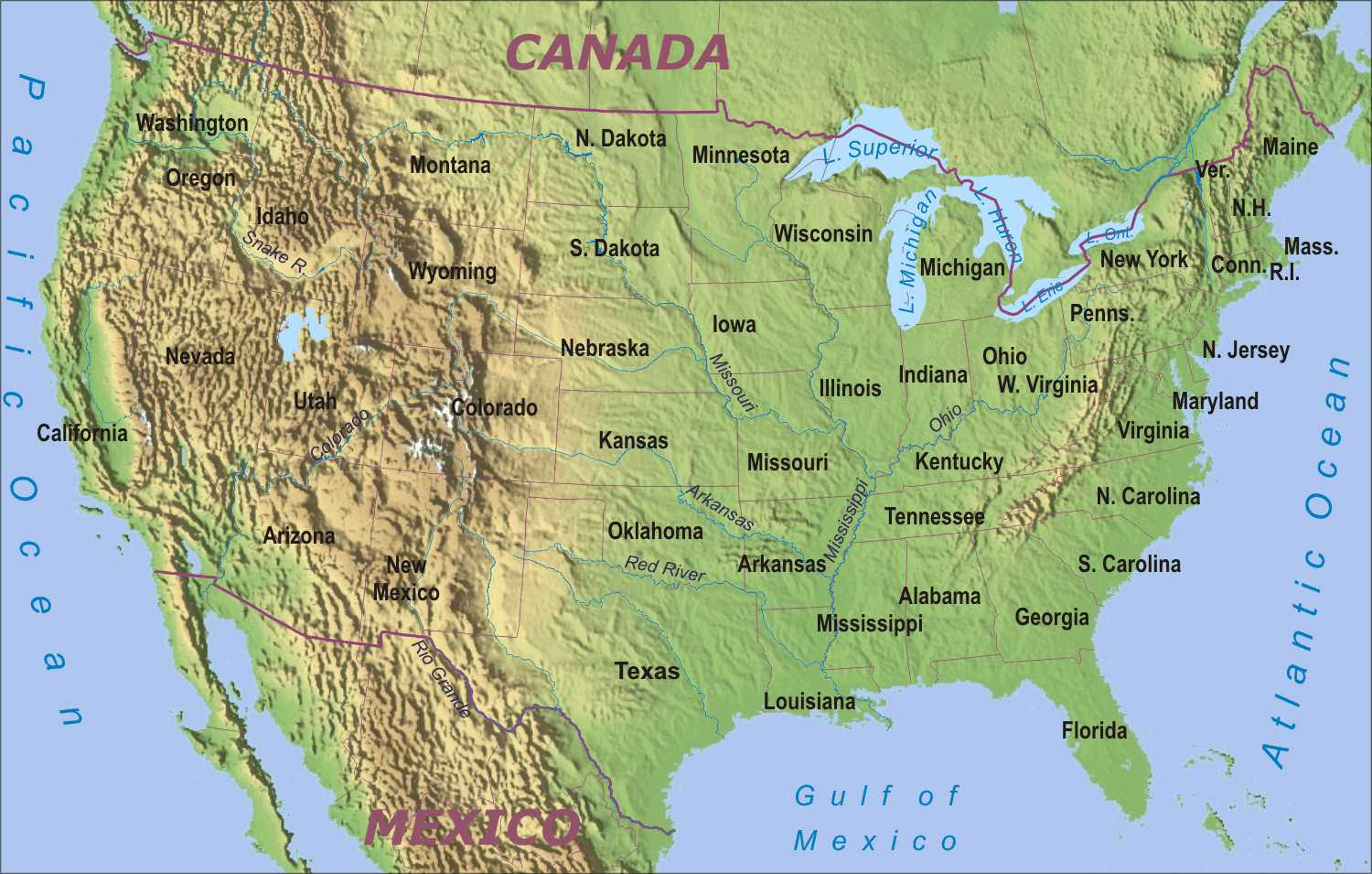 Maps United States Map Physical - United states map physical
