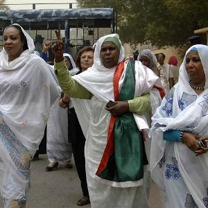 Sudanese women rally in support of the Sudan Armed Forces in the midst of the escalating military and political conflict with South Sudan. South Sudan seized Heglig oil field in South Kordofan state but later withdrew under international pressure. by Pan-African News Wire File Photos