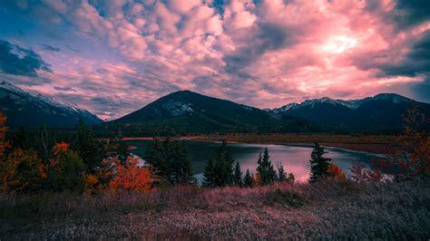 mountains lake sunset desktop pc  mac wallpaper