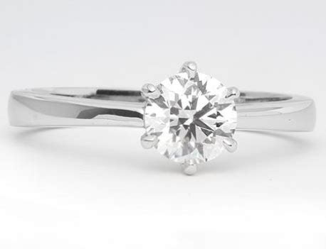 Tapered Six Prong Solitaire Engagement Ring in 18k White