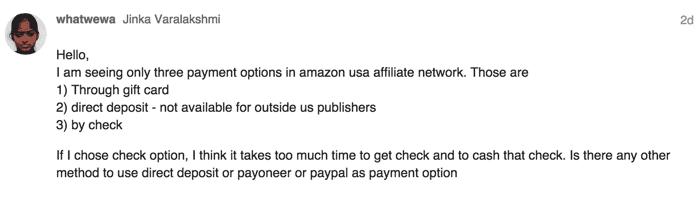 Amazon USA affiliate Payment