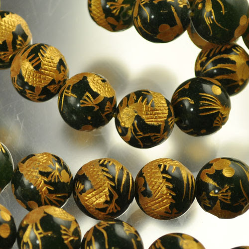 s33644 Stone Beads - 16 mm Carved Rounds - Dragon - Nephrite Jade - Gold (1)