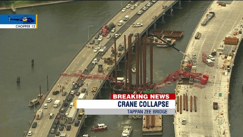 PHOTOS: Crane Collapses On Tappan Zee Bridge In New York; All Lanes Closed Indefinitely [UPDATED 12:55PM ET]