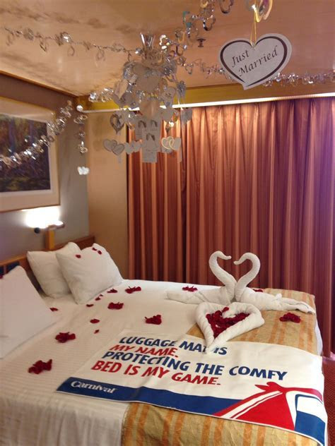 Stateroom decorated by Carnival Victory! Honeymoon