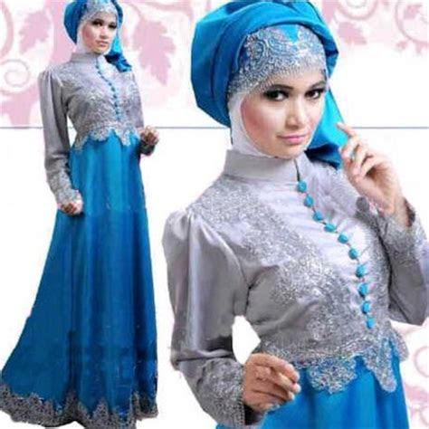 gambar contoh  model baju muslim pesta terbaru