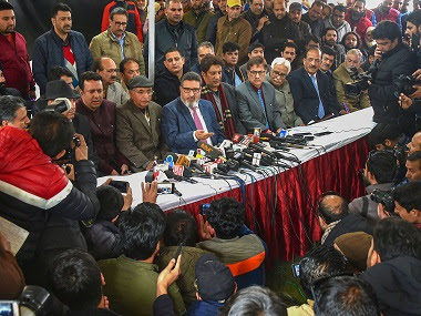 President of newly launched Jammu and Kashmir Apni Party Altaf Bukhari addresses a press conference with other party members. PTI