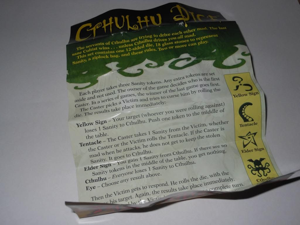 Cthulhu Dice Instructions
