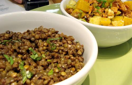 Green Lentils & Beets-Yam-Walnut-Goat Cheese Salads