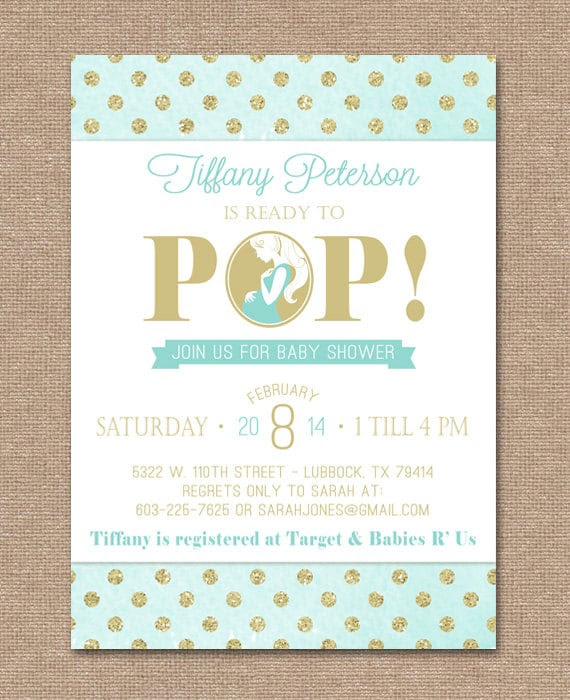 Items similar to pop baby shower invitation about to pop ...
