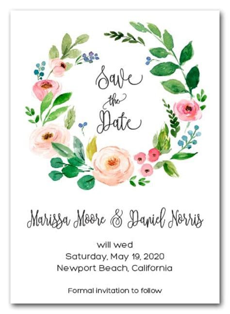 Floral Wreath Save the Date Cards, Wedding Save the Date Cards