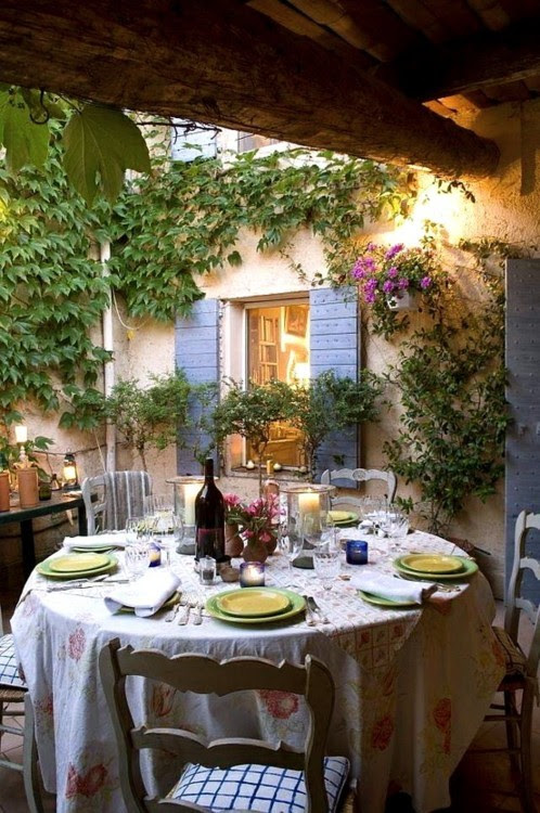 quaint patio dining