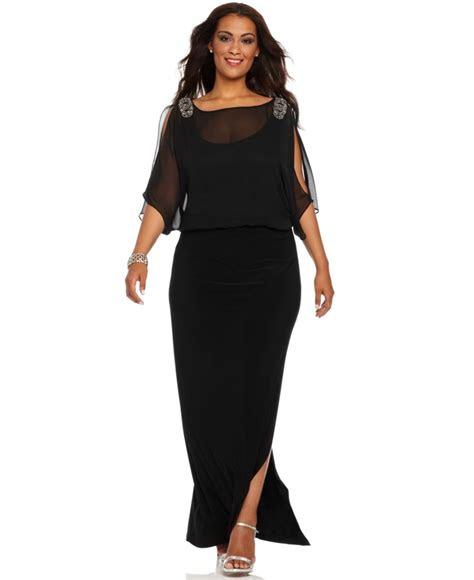 xscape  size dress short split sleeve beaded evening