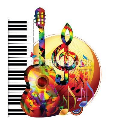 Fondo De Música Con Guitarra Piano Y Clave De Sol Arte Vectorial