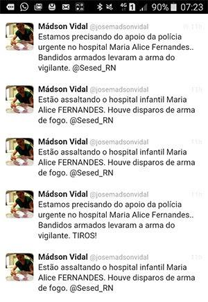 Em rede social, médico fez várias postagens pedindo socorro à polícia (Foto: Reprodução/Twitter)