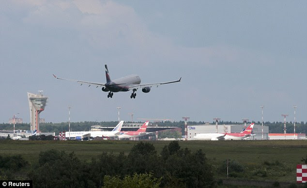 A plane believed to carry Edward Snowden, the former contractor for the U.S. National Security Agency, lands in Moscow's Sheremetyevo airport, June 23, 2013