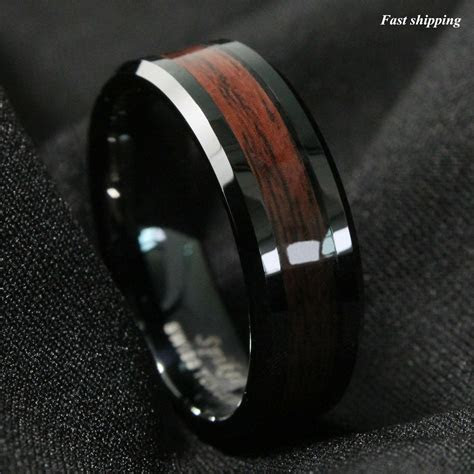 8mm Black Men's Tungsten Carbide ring Red Wood Inlay