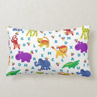 J is for Jungle Animal and Alphabet Throw Pillow