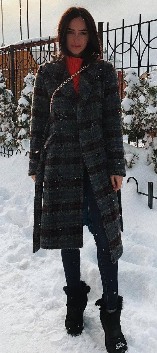 what to wear with a plaid coat : bag + red sweater + skinnies + boots