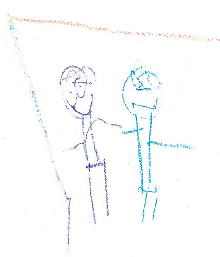 Nora's Drawing of Nora & Daddy - Mar 2013