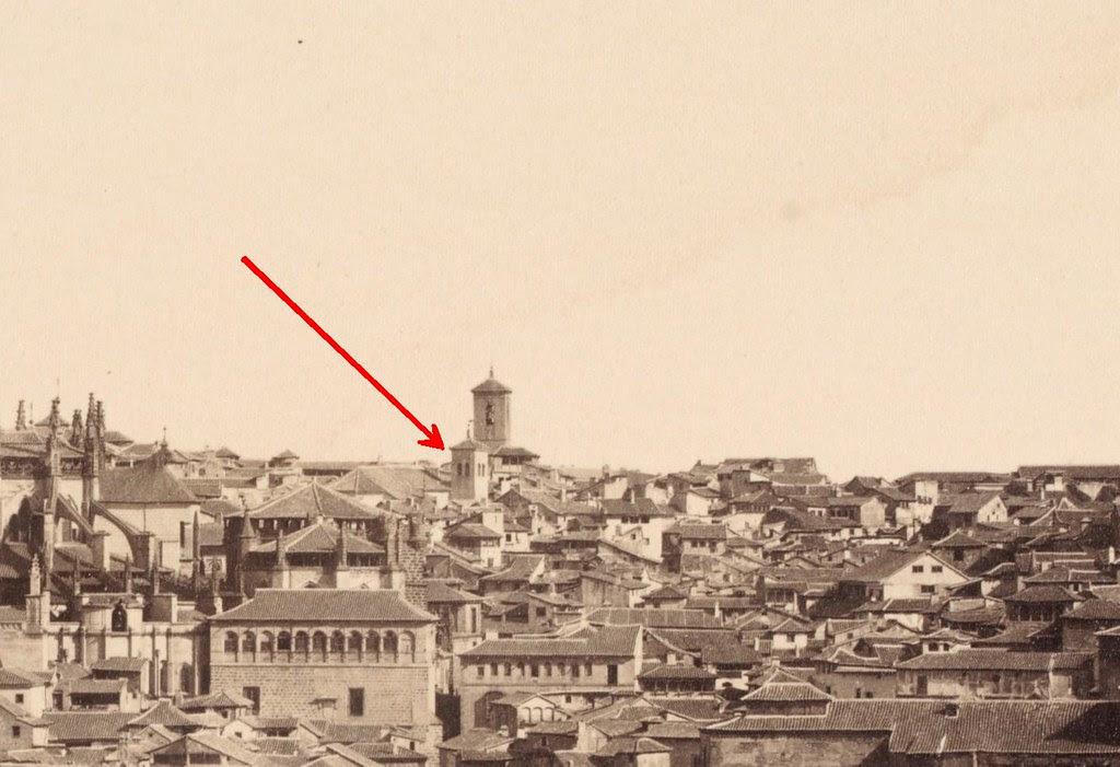 Torre desconocida. Detalle de una fotografía de 1857 tomada desde el Valle por Charles Clifford